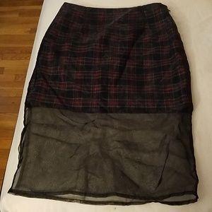 Plaid red black mini skirt with mesh overlay